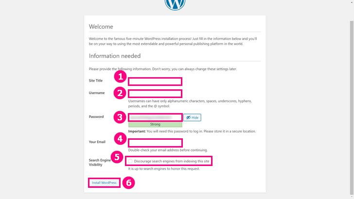 Enter blog information