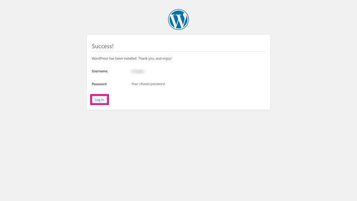 WordPress installation was successful